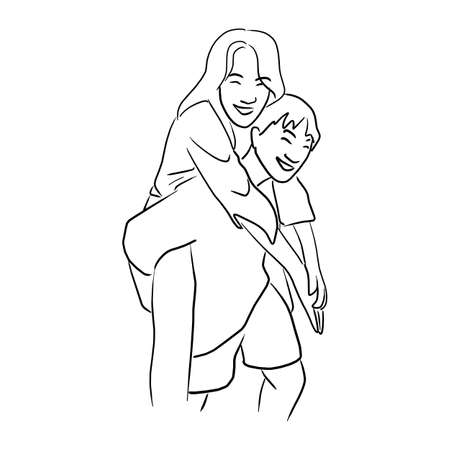 young man giving a piggy back ride to his girlfriend vector illustration sketch doodle hand drawn with black lines isolated on white background