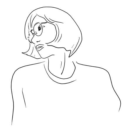 woman wearing glasses with short hair vector illustration sketch doodle hand drawn Archivio Fotografico - 137368292