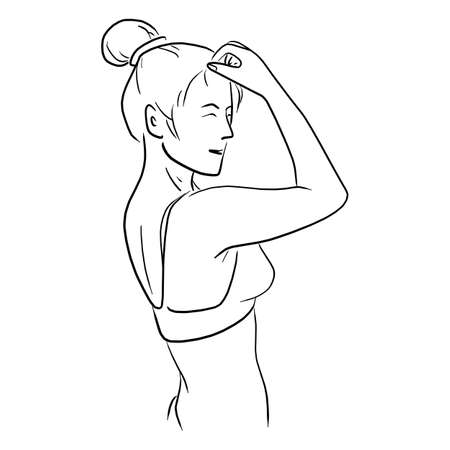 woman with bikini using hand touch her forehead vector illustration sketch doodle hand drawn
