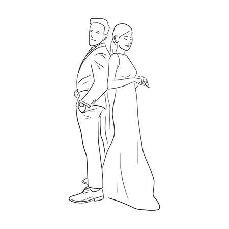 Groom and bride standging together vector illustration sketch doodle hand drawn isolated on white background Vector Illustration