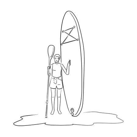 Woman standing with Kayak boat vector illustration sketch doodle hand drawn isolated on white background