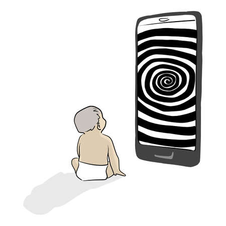 baby looking at a big mobile phone with hypnotizing rotating spiral vector illustration sketch doodle hand drawn isolated on white background