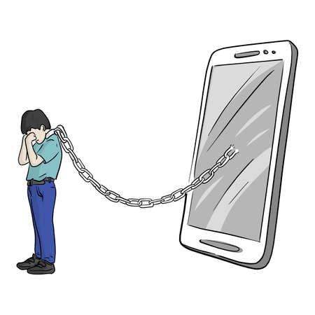 crying boy chained in neck with smartphone vector illustration sketch doodle hand drawn isolated on white background. Mobile phone addict concept.