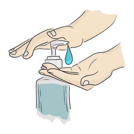 close-up hands using hand sanitizer gel pump dispenser vector illustration sketch doodle hand drawn isolated on white background