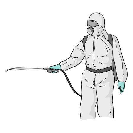 man in a full body protective suit cleaning COVID-19 virus vector illustration sketch doodle hand drawn isolated on white background