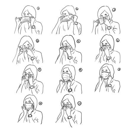 Set of woman showing how to correctly wear hygiene surgical mask vector illustration sketch doodle hand drawn isolated on white background