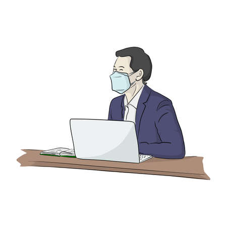 Well dressed young businessman with surgical medical mask sitting and working on laptop computer vector illustration sketch doodle hand drawn isolated on white background  イラスト・ベクター素材