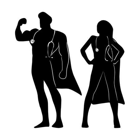silhouette male and female superhero with stratoscope on their neck to fight against Covid-19 virus vector illustration sketch doodle hand drawn isolated on white background Vectores