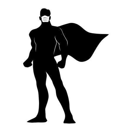 full length of silhouette male superhero with surgical mask vector illustration sketch doodle hand drawn isolated on white background Ilustracja