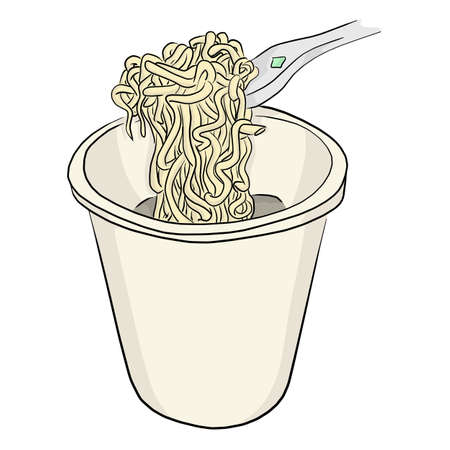 Instant noodle in bowl with plastic fork vector illustration sketch doodle hand drawn isolated on white background