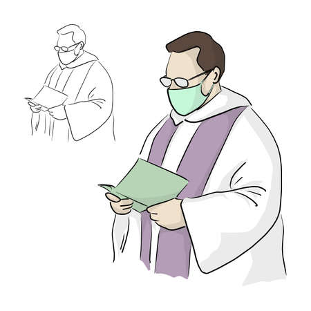 priest or pastor with surgical mask and glasses giving a funeral service in Covid-19 situation vector illustration sketch doodle hand drawn isolated on white background Vectores