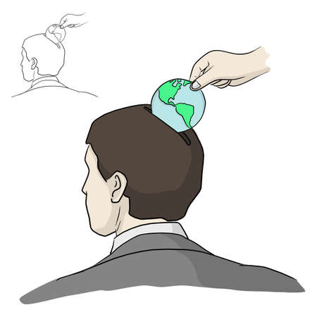 hand put the earth coin into head of businessman vector illustration sketch doodle hand drawn isolated on white background