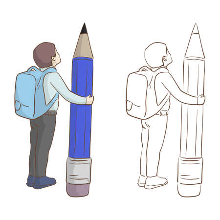 boy with school bag holding big pencil vector illustration sketch doodle hand drawn with black lines isolated on white background