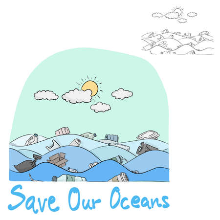 Water pollution in the ocean with the word Save Our Ocean vector illustration sketch doodle hand drawn with black lines isolated on white background
