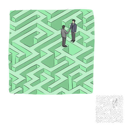 businessman standing with handshaking on the green labyrinth maze vector illustration sketch doodle hand drawn with black lines isolated on white background  イラスト・ベクター素材