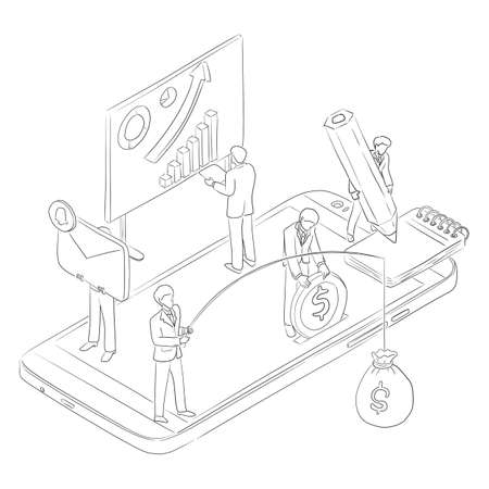five businesspeople using smartphone vector illustration sketch doodle hand drawn with black lines isolated on white background. technology concept.