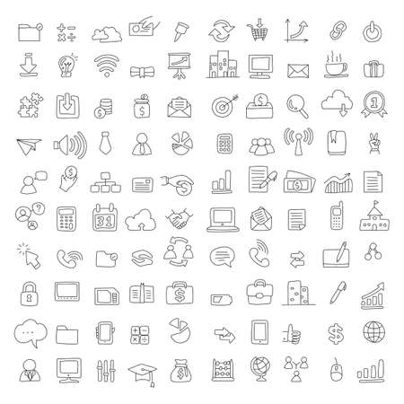 100 technology and business icon set vector illustration sketch doodle hand drawn with black lines isolated on white background