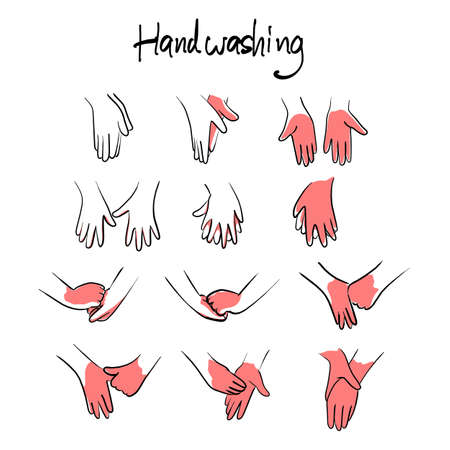 How to wash hands step by step instructions and guidelines with red area vector illustration sketch doodle hand drawn with black lines isolated on white background Vectores
