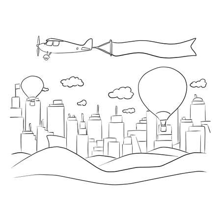 city and mountain with airplane and blank sign in the sky vector illustration sketch doodle hand drawn with black lines isolated on white background