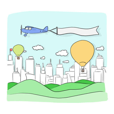 landscape background of city and mountains with retro airplane and blank sign in the blue sky vector illustration sketch doodle hand drawn with black lines isolated on white background. Vectores