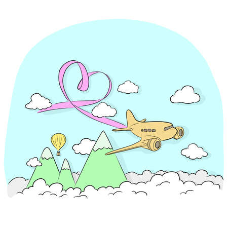airplane with pink ribbon flying in the blue sky vector illustration sketch doodle hand drawn with black lines isolated on white background
