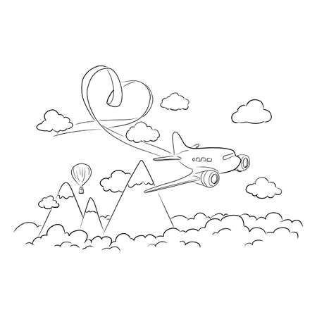 airplane flying in the sky with heart-shape ribbon vector illustration sketch doodle hand drawn with black lines isolated on white background