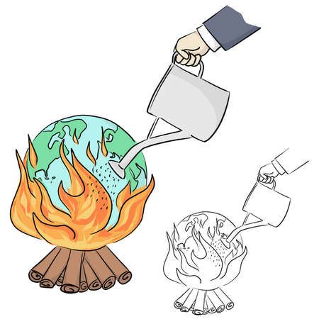 hand of businessman watering fire on earth vector illustration sketch doodle hand drawn with black lines isolated on white background. Ecology concept.