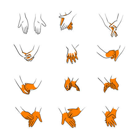 wash hands step by step instructions and guidelines with orange area vector illustration sketch doodle hand drawn with black lines isolated on white background