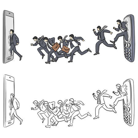 businessman running from old mobile phone to smartphone vector illustration sketch doodle hand drawn with black lines isolated on white background. Business and technology concept. Vectores