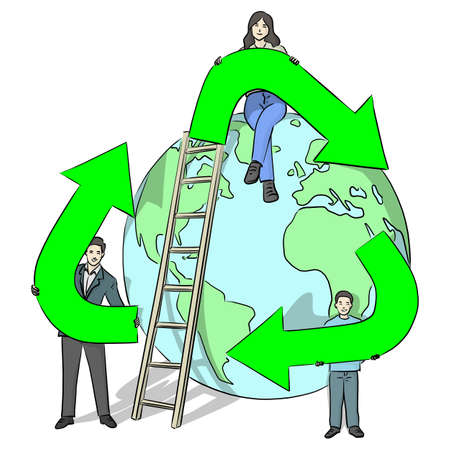 family holding big green sign of recycle with planet earth vector illustration sketch doodle hand drawn with black lines isolated on white background