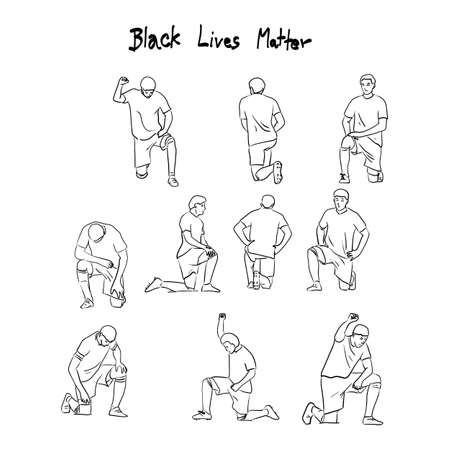 soccer players taking a knee protest against racism and police brutality for Black Lives Matter action vector illustration sketch doodle hand drawn with black lines isolated on white background.
