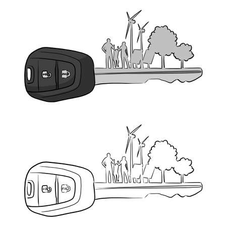 car key with silhouette of family solar cell wind turbine and trees vector illustration sketch doodle hand drawn with black lines isolated on white background