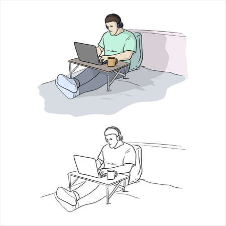 male freelancer using laptop studying or doing network on bed in inside house with tea cup and wireless headphones vector illustration sketch doodle hand drawn with black lines isolated on white background