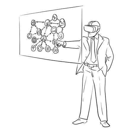 businessman wearing VR headset and touching screen with business icon vector illustration sketch doodle hand drawn with black lines isolated on white background