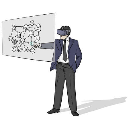businessman wearing virtual reality or VR headset or head-mounted display or HMD glasses and touching screen with business icon vector illustration with black lines isolated on white background