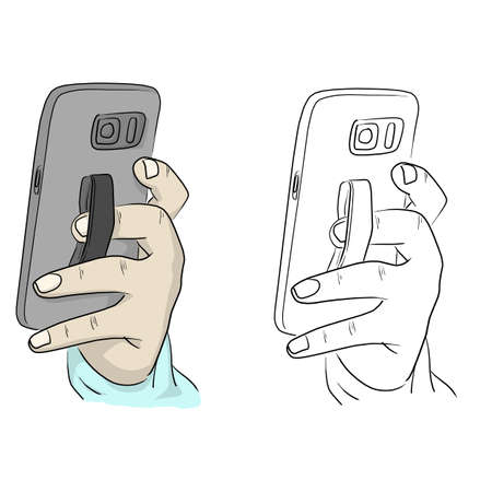 Close-up hand holding smartphone with back elastic finger grip strap band holder vector illustration sketch doodle hand drawn with black lines isolated on white background