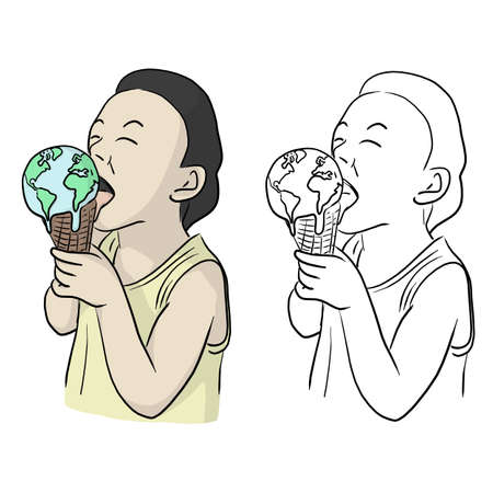 boy eating planet earth as melting ice cream vector illustration sketch doodle hand drawn with black lines isolated on white background. Global warming concept.