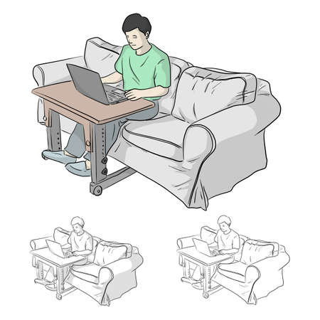 man working or learning on laptop on grey sofa at the living room in quarantine for Coronavirus or Covid-19 vector illustration sketch doodle hand drawn with black lines isolated on white background Vectores