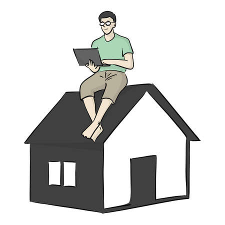 man with glasses working on computer laptop at small home vector illustration sketch doodle hand drawn with black lines isolated on white background Vectores