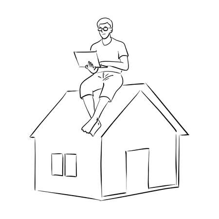 man working with computer laptop on the top roof of small home vector illustration sketch doodle hand drawn with black lines isolated on white background. Work from home.