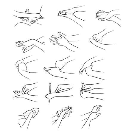 steps of washing hands vector illustration sketch doodle hand drawn with black lines isolated on white background Vectores