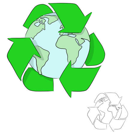 earth with recycle sign vector illustration sketch doodle hand drawn with black lines isolated on white background Vectores