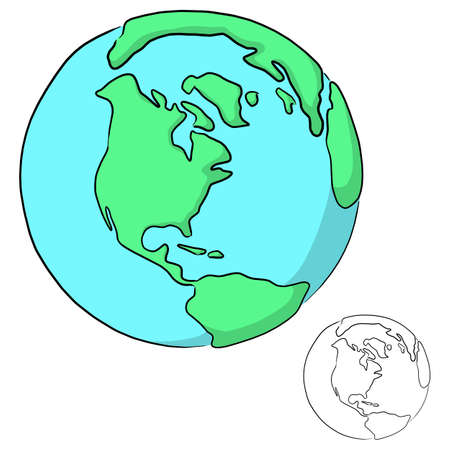 planet earth with shadow vector illustration sketch doodle hand drawn with black lines isolated on white background