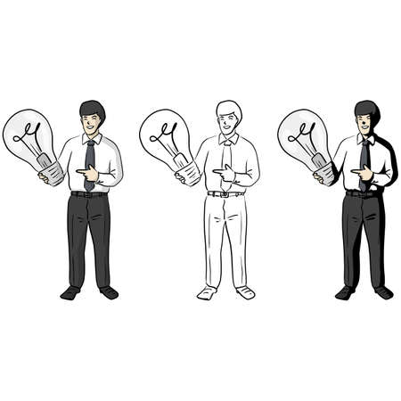 Businessman holding up and pointing big light bulb vector illustration sketch doodle hand drawn with black lines isolated on white background