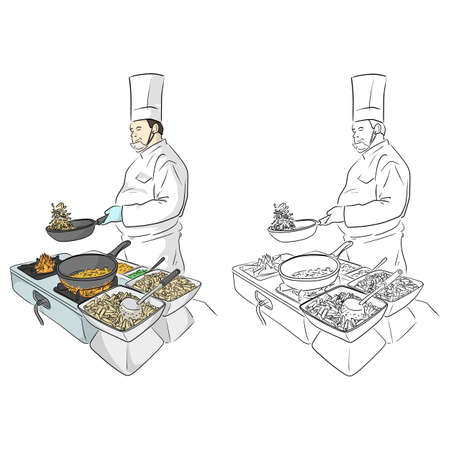 Male cook preparing delicious French fries at a restaurant vector illustration sketch doodle hand drawn with black lines isolated on white background