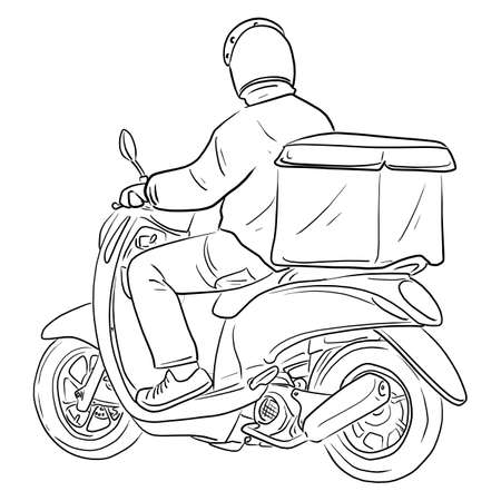 Delivery man riding motorcycle with box at the back vector illustration sketch doodle hand drawn with black lines isolated on white background