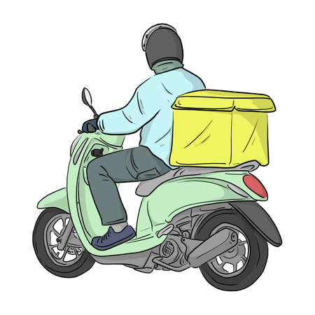 colorful delivery man riding motorcycle with box at the back vector illustration sketch doodle hand drawn with black lines isolated on white background Vectores
