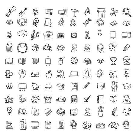 education icon set vector illustration sketch doodle hand drawn with black lines isolated on white background
