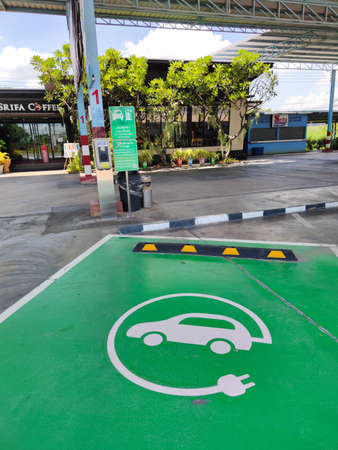 KANCHANABURI, THAILAND - JULY 23 : Charge Point, Electric Vehicle (EV) Charging Station on July 23, 2020 in Kanchanaburi, Thailand. Vertical photo.