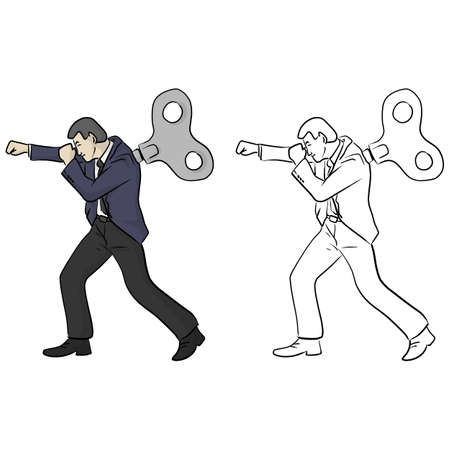 businessman fighting with windup on his back vector illustration sketch doodle hand drawn with black lines isolated on white background 矢量图像